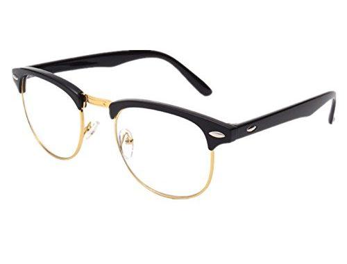 683a6bd05d8 Shiratori New Vintage Classic Half Frame Semi-Rimless Wayfarer Clear Lens  Glasses … – SunglassFair