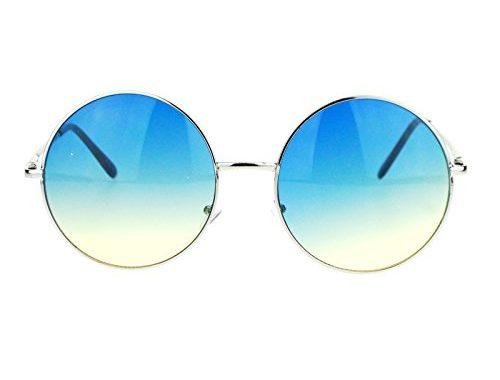 dc5d2a13f5b Hippie Retro Groovy Gradient Oversize Circle Lens Round Lennon Sunglasses –  SunglassFair