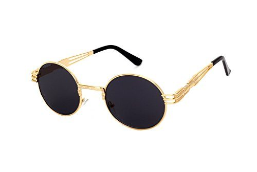 a61d0b1163 GAMT Retro Metal Hipster Steampunk Round Style Coating Mirrored Sunglasses  – SunglassFair