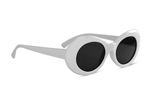 c24b752c09 Clout Goggles Oval Sunglasses Mod Style Retro Thick Frame Fashion Kurt  Cobain (White) – SunglassFair