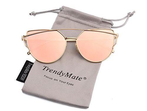 d414e0e16bb1 TrendyMate-Womens Street Fashion Metal Twin Beam Flat Mirror Lens Cat Eye  Sunglasses – SunglassFair