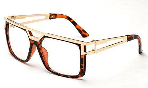 4859d6861624 Newbee Fashion – Thick Frame Rapper 80 s 90 s Retro Hip Hop DJ Large Design  Squared Clear Lens Glasses – SunglassFair